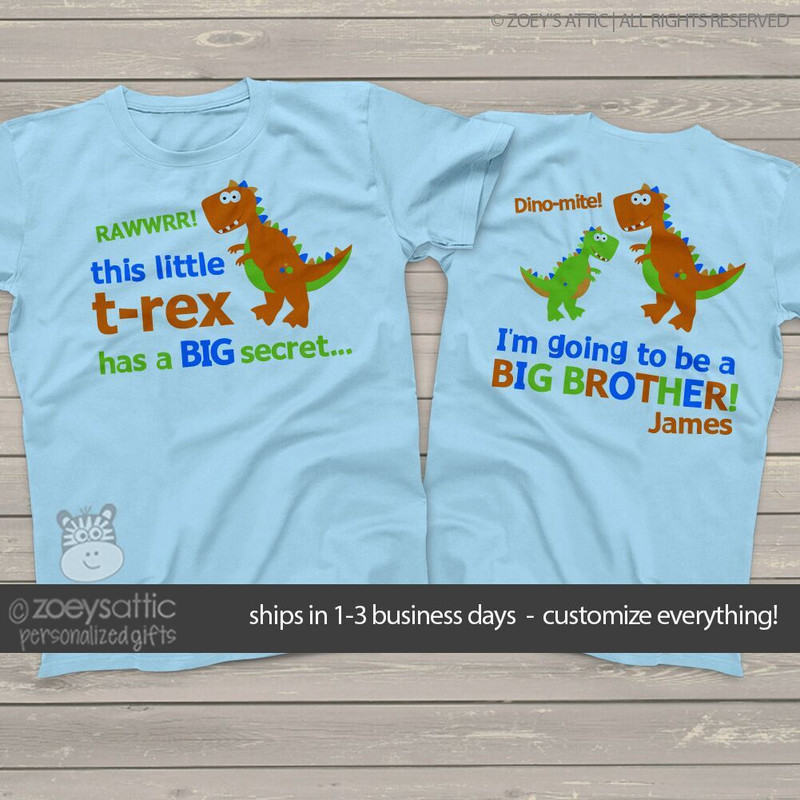 0d1a3f10f ... Big brother to be shirt funky dinosaur secret pregnancy announcement  Tshirt ...