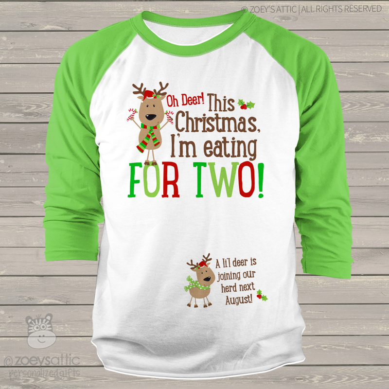 7d4149ae44bc0 ... Christmas reindeer eating for two unisex adult raglan shirt ...