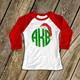 Monogram glitter Santa hat girls raglan shirt