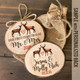 Reindeer First Christmas mr & mrs cut pine wood ornament