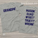 Grandpa shirt grandpa to number of grandchildren with  names on back personalized Tshirt