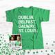 St. Patrick's Day dogtown or st. louis shamrock glitter option adult unisex DARK Tshirt