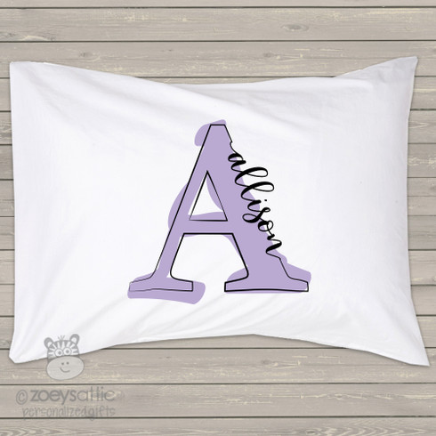 Personalized Pillowcase featuring NEVAEH in photo actual sign letters