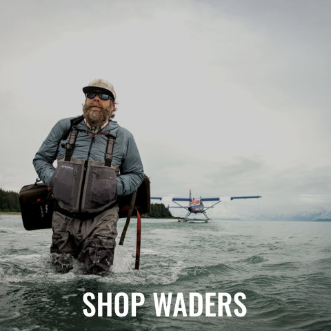Men's and Women's Waders from Simms, Orvis, and Patagonia.