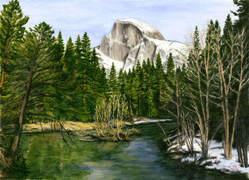 Half Dome Over the Merced
