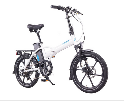 Magnum Electric | Premium Hi Step | Electric Folding Bike | 2020 | White with Blue Accents