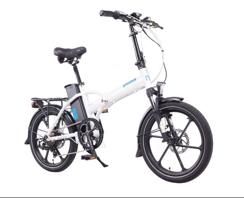 Magnum Electric | Premium Hi Step | Electric Folding Bike | White with Blue Accents