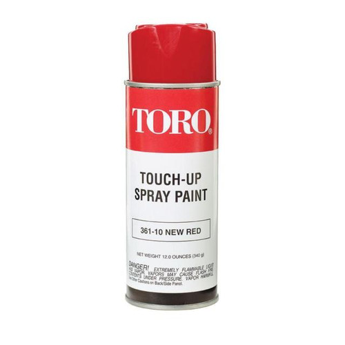 Toro Paint 361-10 Red 12 Oz Can SUPERCESSION 80311 361-10 Touch up scratches on your Toro Walk Power Mower with this Toro red touch up spray paint. This spray paint can contains the official Toro Pantone red color and can be used to touch up scuffs or scratches on your Toro mower. The can contains 12 oz. and can be used time and time again to keep your Toro mower looking new.