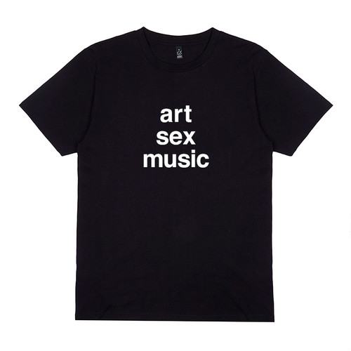 Chris & Cosey of Carter Tutti & Throbbing Gristle - 'Art Sex Music' t-shirt. White print on black.