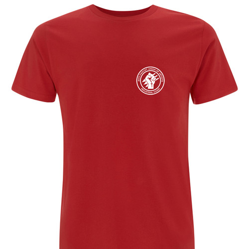 100% Organic Cotton, thick print onto red Earth Positive T-Shirt, this Industrial Coast T-Shirt will last.
