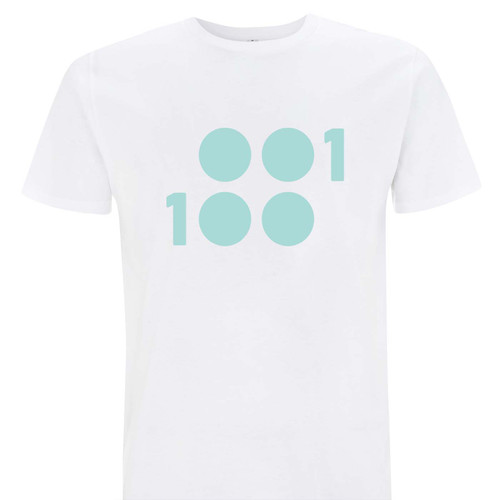 1 of 100 crisp white T-Shirt with mint prink 100% Organic Cotton T-Shirt
