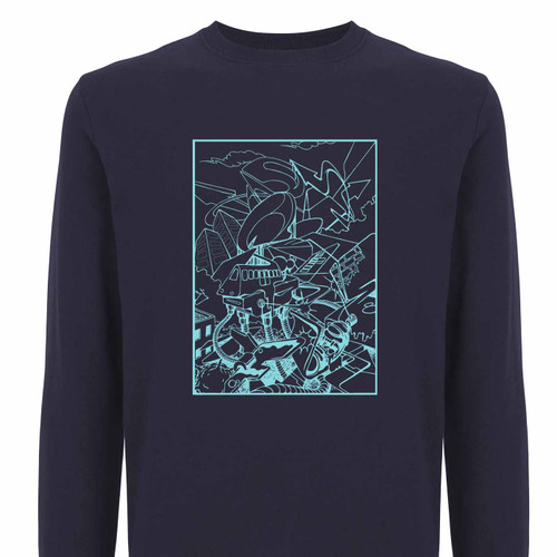 Barry the cat sweatshirt, teal on navy 100% Organic cotton