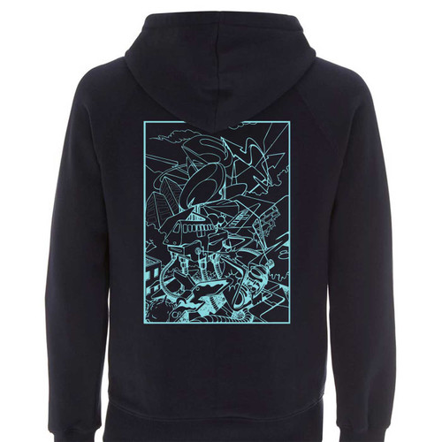 Barry the cat hoody, teal on navy 100% Organic cotton