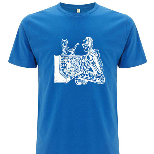 Analogue Android white on blue, organic cotton.