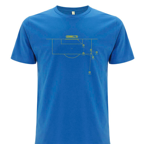 Exclusive collaboration with Marcus Reed celebrating Archie Gemmill's legendary goal. Yellow on bright blue organic cotton t-shirt