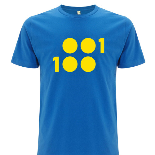 1 of 100 crisp blue T-Shirt with yellow ink on 100% Organic Cotton T-Shirt