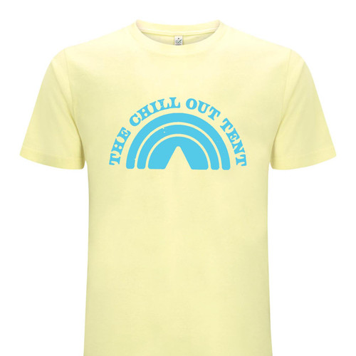 Exclusive collaboration with The Chill Out Tent. Blue on lemon organic cotton t-shirt
