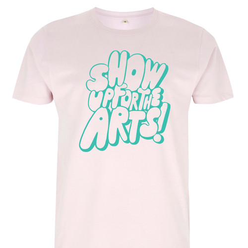 Exclusive collaboration with The Skinny. Teal on light pink organic cotton t-shirt