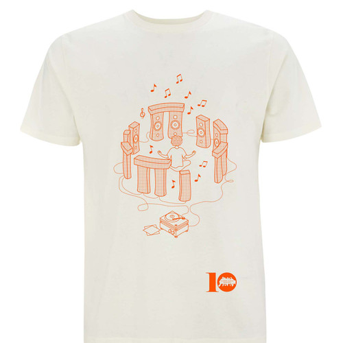 Exclusive collaboration with Classic Album Sundays to celebrate their 10th birthday. Orange on cream organic cotton t-shirt