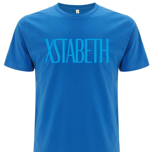 Exclusive collaboration with David Keenan and his new book XSTABETH. Blue on blue organic cotton t-shirt