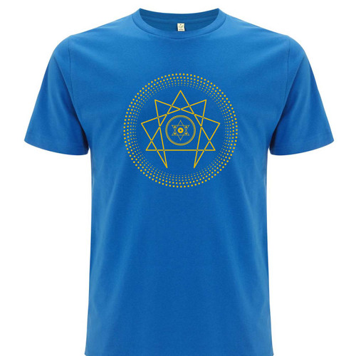 Exclusive collaboration with Richard Norris. Yellow on bright blue organic cotton t-shirt