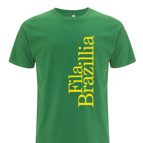 Exclusive collaboration with Fila Brazillia. Yellow on green organic cotton t-shirt
