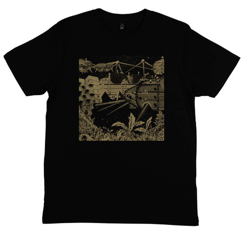 Exclusive collaboration with Greg Foat. Gold on black organic cotton t-shirt