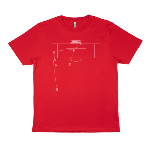 Exclusive collaboration with Marcus Reed. White on red organic cotton t-shirt