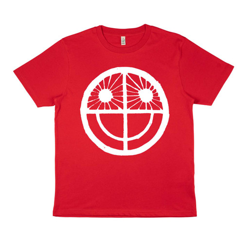 Exclusive collaboration with John Pedder. White ink on red organic cotton t-shirt