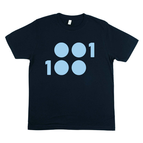 1 of 100 navy T-Shirt with light blue ink 100% Organic Cotton T-Shirt