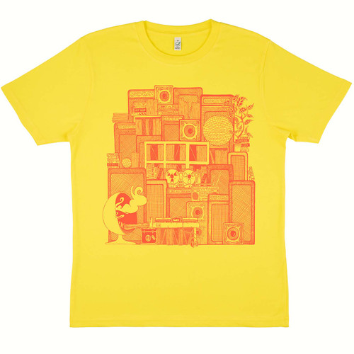 Exclusive Special Edition Paul MacDonald 'Turn off Your Mind....Relax, and Float Downstream' t-shirt on 100% organic cotton yellow t-shirt