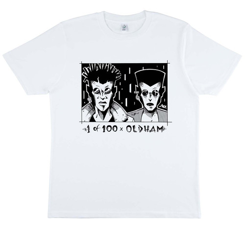 Exclusive Limited Edition Alan Oldham collaboration on white organic cotton t-shirt