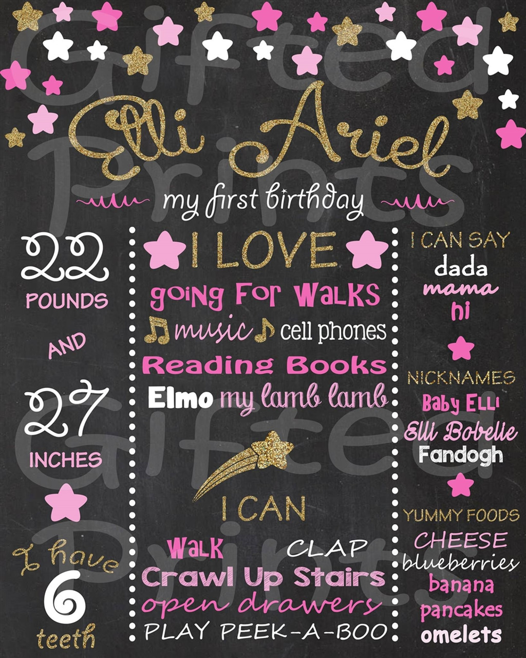 Baby boy First Birthday Chalkboard stars theme Printable digital file 1st birthday blue and grey