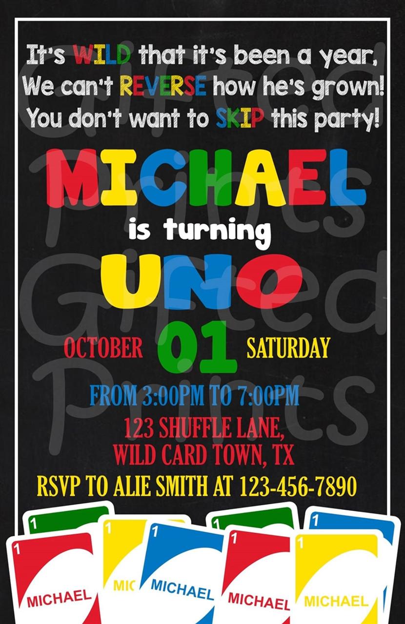 Uno Birthday Invitation