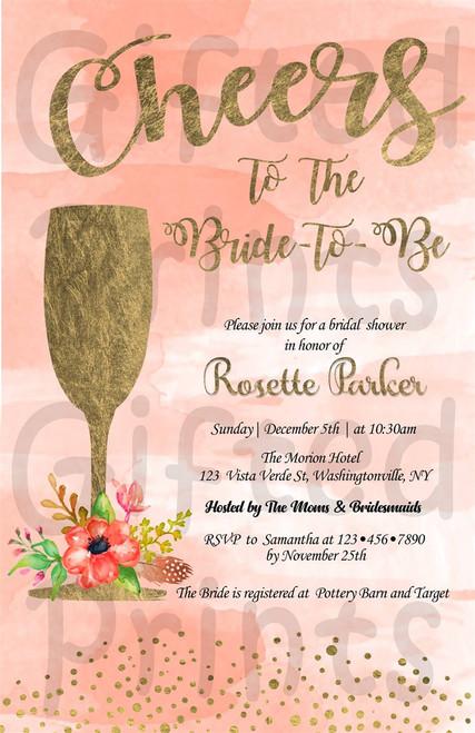 Brunch & Bubbly Bridal Shower Invitation Champagne Glass
