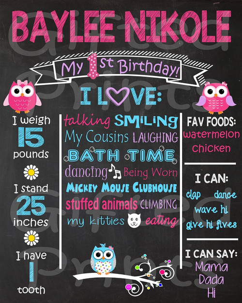 Girl Owl Birthday Chalkboard