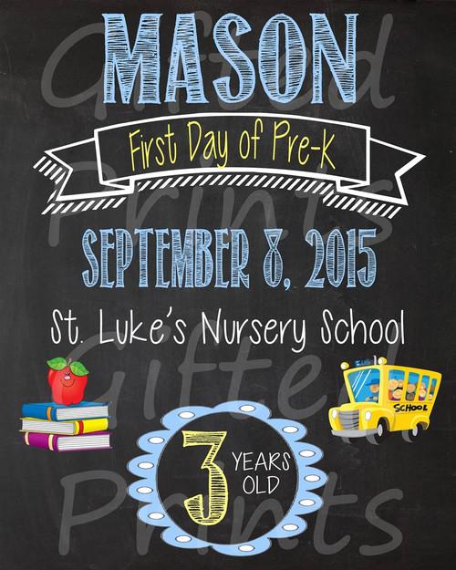 Boy Basic First Day of School Chalkboard, School Theme