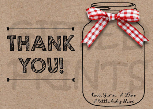 Baby-Q Mason Jar Thank You Card