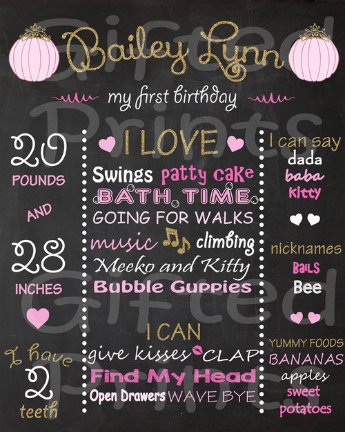 Pink Pumpkin Princess Birthday Chalkboard