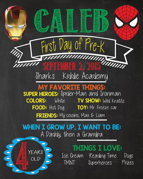 Superhero First Day of School Chalkboard