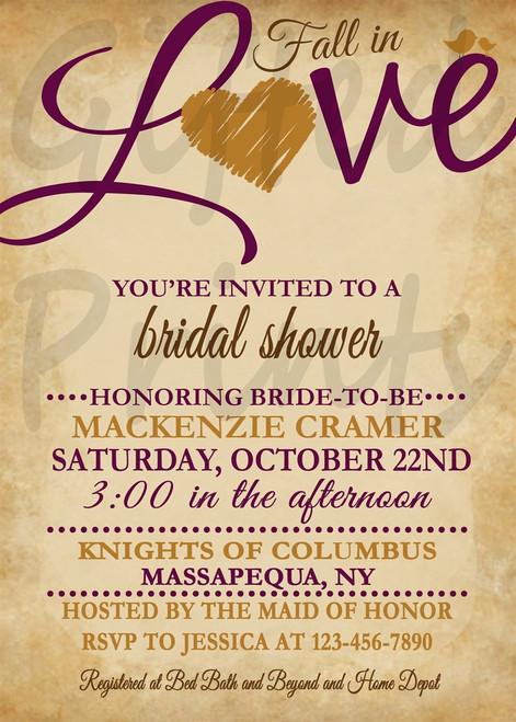 Fall In Love Bridal Shower Invitation 1