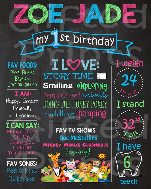 Baby Einstein Birthday Chalkboard