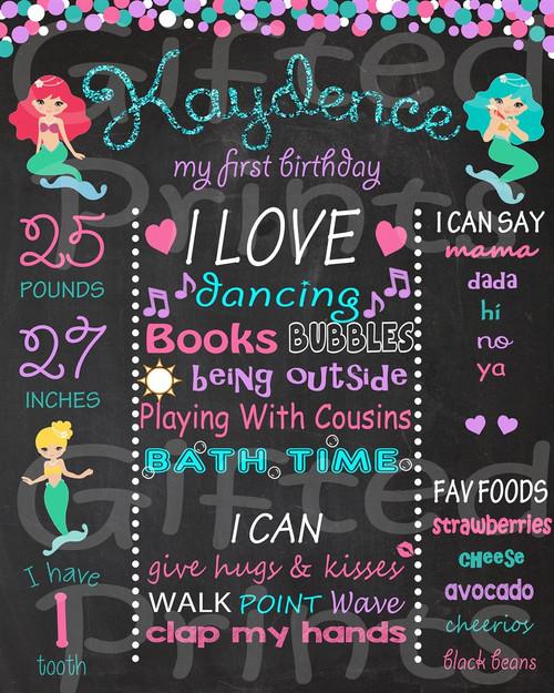 Mermaid Birthday Chalkboard
