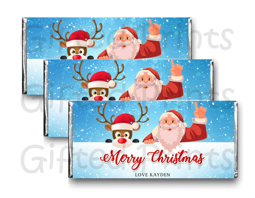 Santa and Rudolph the Reindeer Snow Chocolate Wrapper