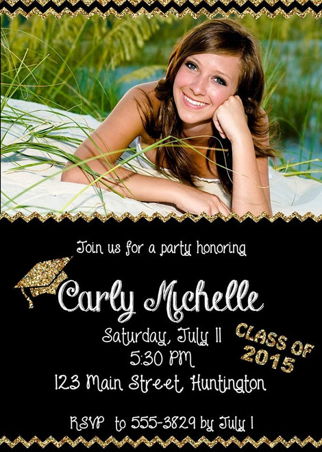Gold and Black Graduation Invitation