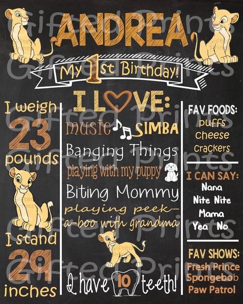 Nala Lion King Birthday Chalkboard