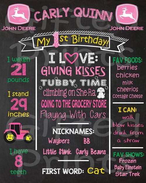 Pink Tractor Birthday Chalkboard
