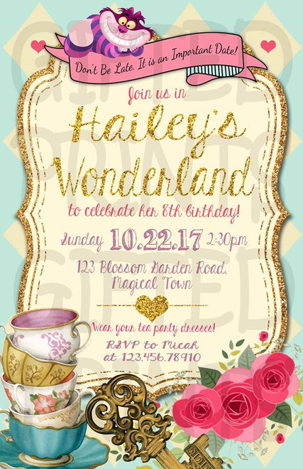 Alice in Onderland Birthday Invitation Tea Party