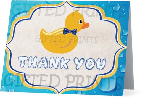 Folded Waddle It Be Thank You Card Rubber Ducks & Bubbles