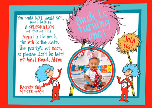 Dr. Seuss Birthday Invitation 1